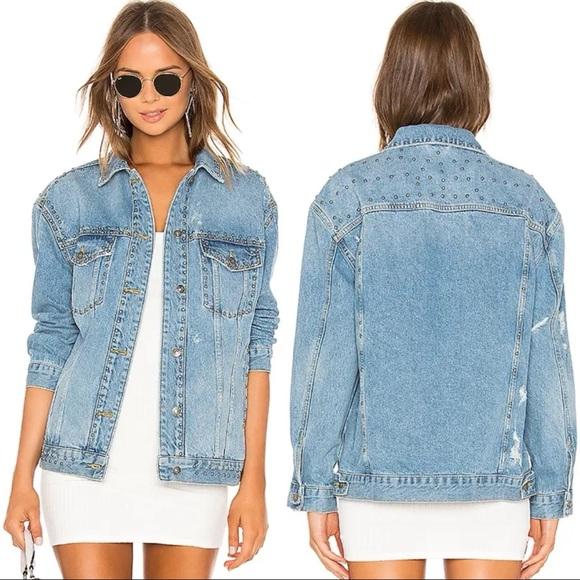 Free People Oversized Studded Denim Jean Jacket S